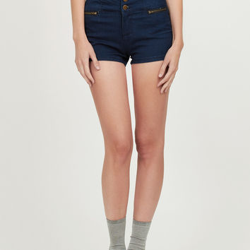 LE3NO Womens High Waisted Sailor Nautical Denim Jean Shorts with Stretch