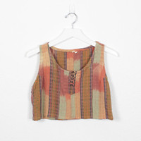 Vintage 80s Crop Top Summer Music Festival Tank Top 1980s Madras Plaid Orange Mustard Gold Hippie Cropped Top Boho Shirt Blouse S Small M
