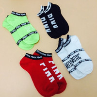 100% Cotton Women being express it in VS Pink Socks Harajuku style leisure beautiful Socks Calcetines Mujer letter socks meias