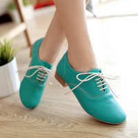 Classic Korean Style Lace Up Candy Color Shoes