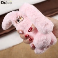 Smartphone Case For iPhone 8 7 7 Plus 6 6S 6 Plus 5 Case Bunny Shape Warm Artificial Fur TPU Rabbit Coque Capa Cover For iPhone