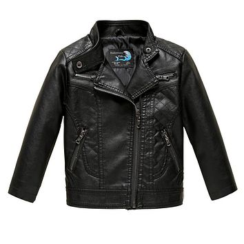 Leather Jacket for Boy Girl Coat Black Warm Fall Winter Jackets for 3 4 5 6 8 10 Years Toddler Kids Clothes Costume Outerwear