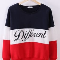 Korean Letters Printed Stitching Color Cotton Casual Sweatshirt