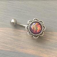 Belly Button Ring Black Purple Faux Opal Jewelry Flower Rose Daisy Belly Button Ring Navel Piercing Stud Barbell Belly Button Ring