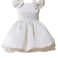 Dressystar Beading Flower Girl Dress Satin Layers Pageant Dress with Shoulder Tie