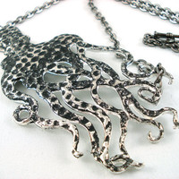 Giant Antique Silver Octopus Statement Necklace by angelyques
