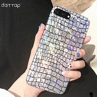 daTTap Fashion case for iphone 8 case Crocodile Pattern Laser glitter back cover for iphone 8 plus case fundas coque for iphone8