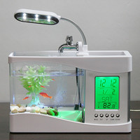 Mini USB LCD Lamp Light Fish Tank Aquarium LED Clock