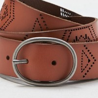 AEO Women's Etched Leather Belt (Tan)