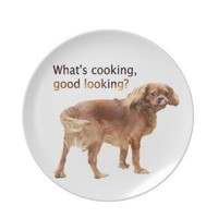 What's Cooking Good Looking Dog Licking Dog Plate from Zazzle.com