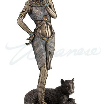 Bastet with Panther Cat Goddess Egyptian Statue Figurine 10.4H