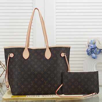 LV Louis Vuitton classic letter printing two-piece handbag shoulder bag messenger bag small wallet Coffee LV print