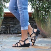 Women's Black Shimmery Wedge Sandals with Clear Rhinestones