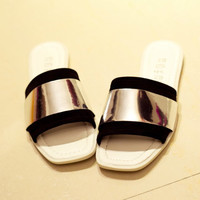 Leather Fashion Black Gold Flat Shoes Slippers [4918349380]
