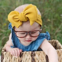 Head bands for baby girls Adjustable Big Bow Baby Toddler Turban Solid Headband Hair Band Baby Girl Bows Hair Accessories