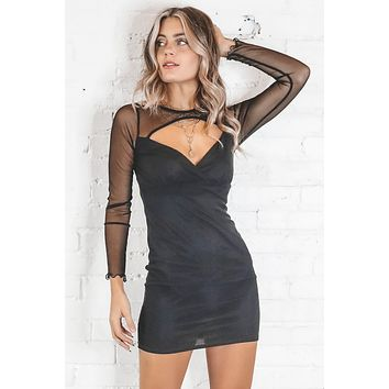 Mesh To The Beat Black Bodycon Dress