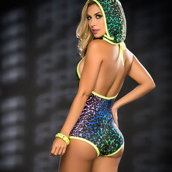 Pretty Hooded Romper Day Glow Colors-Rave Clothing