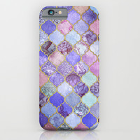 Royal Purple, Mauve & Indigo Decorative Moroccan Tile Pattern iPhone & iPod Case by Micklyn