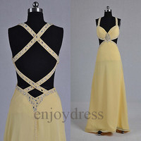Custom Yellow Beaded Sexy Long Prom Dresses Bridemaid Dresses 2014 Formal Party Dresses Wedding Party Dress Evening Dresses Evening Gowns