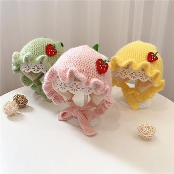 Baby Hat Autumn And Winter 0-3-6 Months Newborn Baby Girl Princess Hat Cute Ear Protection Wool Hat