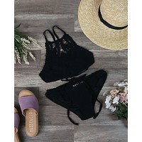 Final Sale - Somedays Lovin - Feeling Free Crochet Bikini Separates in Black