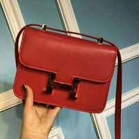 HERMES Women Fashion Leather Satchel Shoulder Bag Crossbody