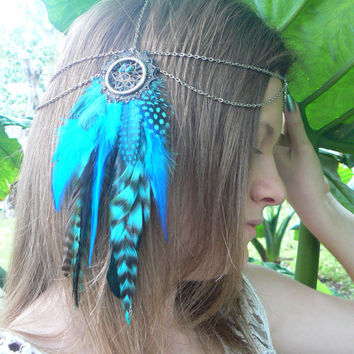 dreamcatcher feather head chain headdress Turquoise halo head piece in tribal Native American boho gypsy hippie hipster style