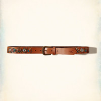 Embroidered Leather Belt