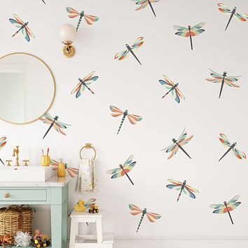 Dragonfly Wall Stickers, Repositionable Dragonfly Wall Decals, Matte Fabric Dragonfly Decals, Peel and Stick Wall Stickers Col 1