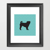 Chevron Pug Framed Art Print by Michelle O'Hollaren