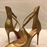 Christian Louboutin MARLENAROCK 100 Gold Crisscross Heels Sandal Pump Shoes  40 $945