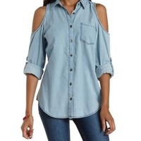 Lt Wash Denim Cold Shoulder Chambray Button-Up Top by Charlotte Russe