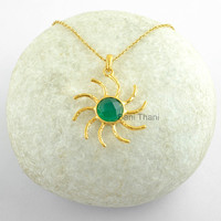 Sun Textured Designer Necklace Green Chalcedony Round Faceted 9mm Micron Gold Plated 925 Sterling Silver Pendant Necklace Jewelry # 6351