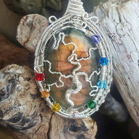 Labradorite Tree Of Life Wire Wrapped Necklace Silver with Chakra Set Beads