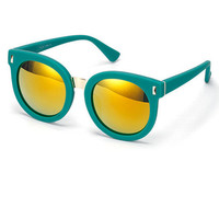 Turquoise Reflective Round Lens Sunnies