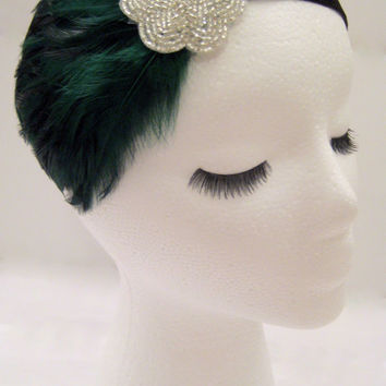 The Lucille - dark green feather hairband, green 20s headpiece, green Gatsby headband, green silver 1920s feather fascinator