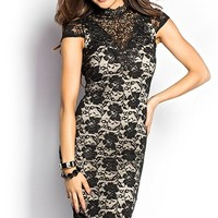 Victoria Black and Nude High Neck Open Back Lace Sheath Dress