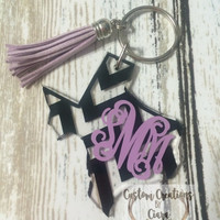 State Monogram Keychain - Chevron Pattern - Any Color - ANY STATE Home - Perfect Gift - Key Chain