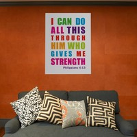 Colorful Inspirational Philippians 4:13 Posters from Zazzle.com