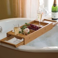 couples bamboo bath caddy from RedEnvelope.com