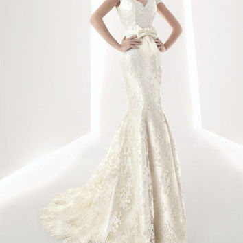 Graceful Plunging Neck Embroidery and Bowknot Design Women's Lace Hem Mermaid Wedding Dress