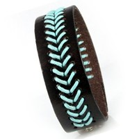 """Dark Brown Leather Cuff Bracelet with Woven Teal Design, Fits Men and Women 7.5 to 8.5"""" with Adjustable Snaps"""