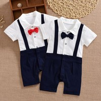 Formal newborn baby gentleman rompers boy polo top clothes set for baby boy summer wear wedding birthday party clothing jumpsuit