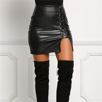 Leather Slit Skirt