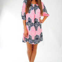 Into the Deep Dress: Navy/Pink
