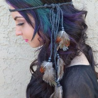 Black Twine Feather Headband #B1020