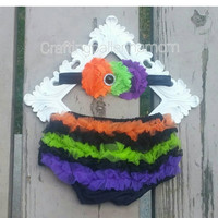 Halloween Bloomers, Halloween Diaper Cover, My First Halloween, Ruffle Bloomers, Costume, Headband, Orange, Purple, Black, Green, Baby Girl