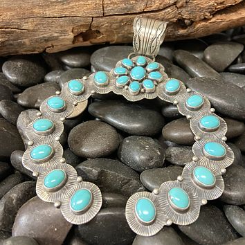 Large Campitos Turquoise Naja Genuine Pendant for Necklace