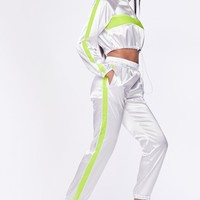Flex on my Ex Satin Two Piece Athletic Jogger Set White