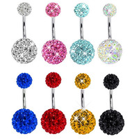 Crystal CZ Disco Ball Stainless Steel Piercing Navel Ring Belly Button Rings